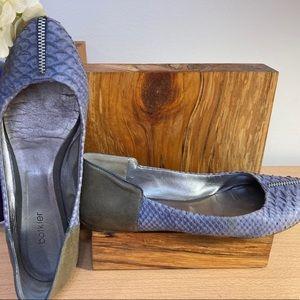 Botkier Blue Snakeskin leather zipper flats 7.5, 8